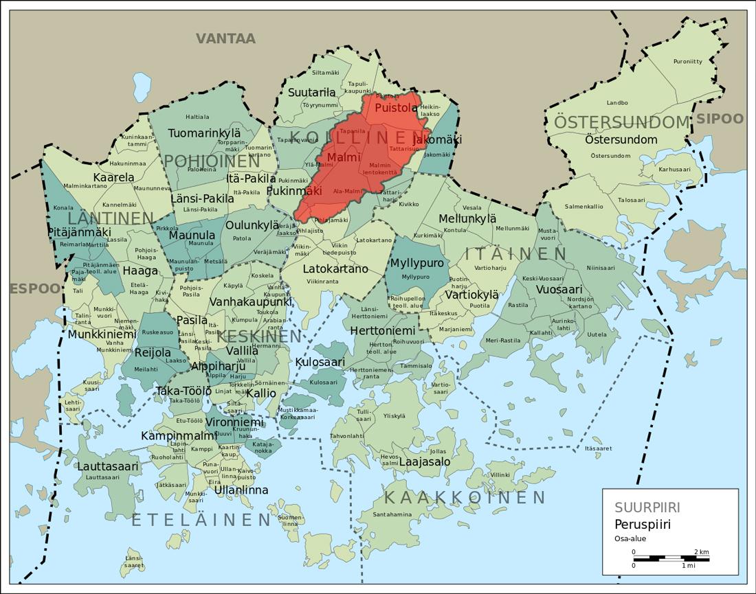 Longinojan valuma-alueen sijainti Helsingissä