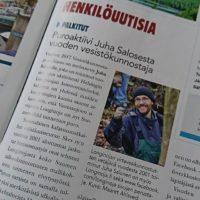 Uusimmassa Vapaa-ajan kalastaja -lehdessä juttu meikäläisen valinnasta Vuoden Vesistökunnostajaksi. #longinoja. Kiitos kuvasta Maaret.
