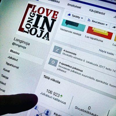 Jippii! Tavoitettavuus fb-sivuista meni yli 100 000 tuhannen <3 Joko sinä tykkäät? Www.facebook.com/longinoja