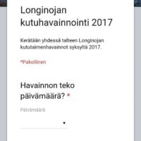 Uudet systeemit kutuhavaintojen keräämiseen. Hyötykäyttöön otettu Google forms. Katsotaan mikä vastaanotto on. Lue lisää www.longinoja.fi
