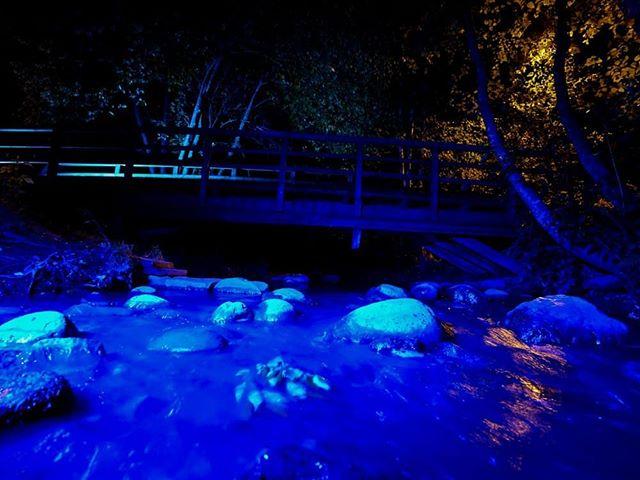 Yhtenä iltana valaisin Longinojan sinisillä valoilla.