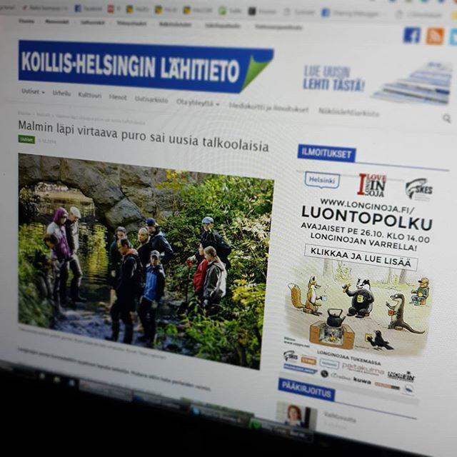 Hienoa saada Longinojan alueen suurimman paikallislehden sivuilta banneripaikka jossa voi mainostaa luontopolun avajaisia. Kiitos <3 Teija.
