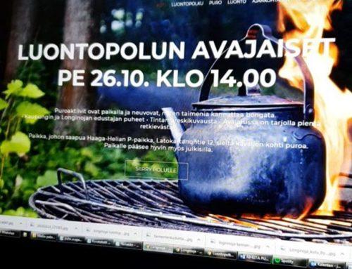 Ilta meni Longinoja.fi nettisivujen optimoinnin parissa. Pari viikkoa luontopolun avajaisiin ja paljon on vielä läpikäytävää.